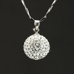 Birthday gift crystal ball necklace s925 pure silver chain female elegant white collar(China (Mainland))