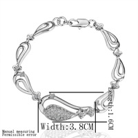 18K White Gold Plated Bracelet B005 Romantic Drop Jewelry Bracelet  for Women Plating Austrian Crystal Designer Bracelet