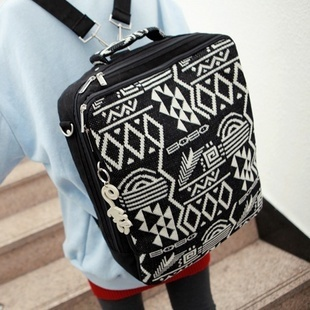 2012 knitted backpack square geometric patterns graphic casual vintage student bag(China (Mainland))