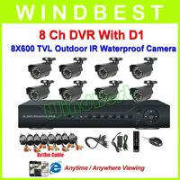 HD 600 TVL 8Ch H.264 D1 DVR Kit With 8pcs Waterproof IR Cameras 8Ch Security Surveillance Video CCTV Camera System Freeshipping