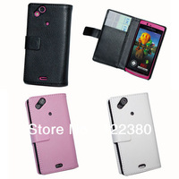 1pcs Freeshipping Leather flip Case Pouch Cover for Sony Xperia Arc S LT18i with retail package