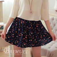 new2014 fashion casual ladies wide elastic waist skirt retro sweet printed chiffon skirts Free International Shipping