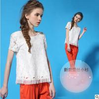 Fashion summer women's 2013 formal o-neck fashion gauze lace shirt short-sleeve chiffon shirt