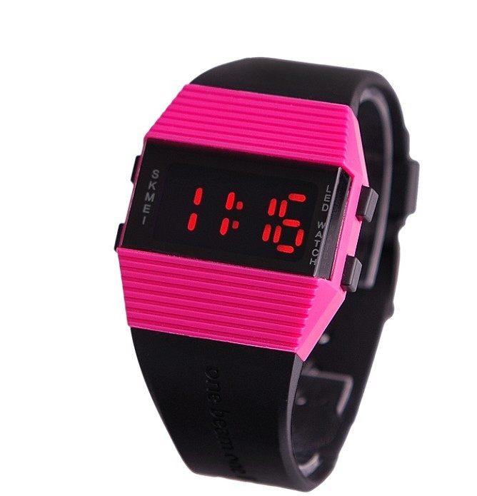 Skmei fashion sports table mirror led watches black women's table(China (Mainland))