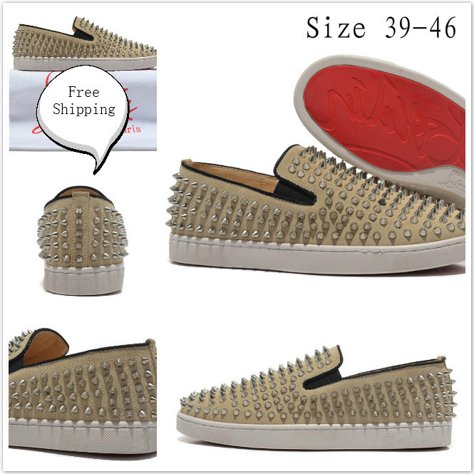 Wholesale Cheap new fashion man spikes sneakers pik boat sliver spike man flat causal shoes red sold shoes free shipping(China (Mainland))