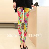 Free shipping Color flower silk and cotton legging Fashional legging Ladies elastic legging Casual legging