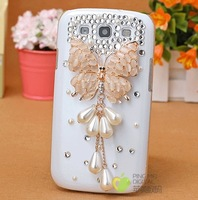 gold pearls Tassel Butterfly bling crystal rhinestone protective case for Samsung Galaxy s3 i9300 or s4 i9500 [JCZL DIY Shop]