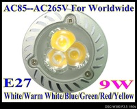 LED 9W High power led spotlight LED lamp 1pcs/lot LED bulbs AC85V--AC265V E27 led base light LS51