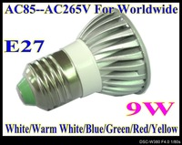 E27 base LED 9W High power led spotlight LED lamp 2pcs/lot LED bulbs AC85V--AC265V light LS51