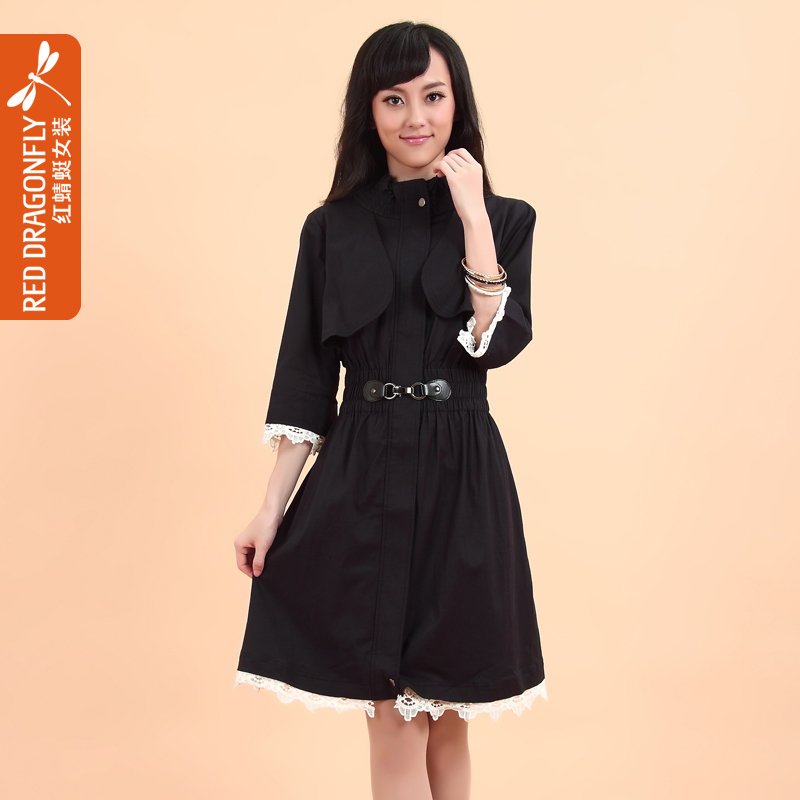 Red DRAGONFLY 2013 autumn and winter women skirt design thickening long trench three quarter sleeve clothes(China (Mainland))