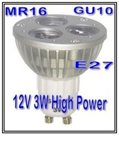 High Power AC/DC 12V GU10 3W Warm White Color LED spot lamp downlight led bulb lighting lamps