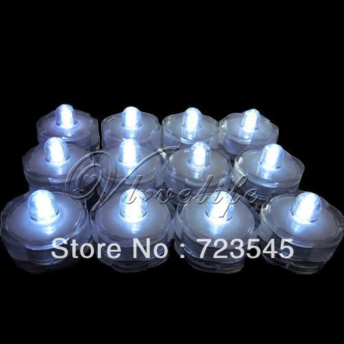 100 White LED Submersible Lights Candles Waterproof Replaceable Xmas Wedding(China (Mainland))