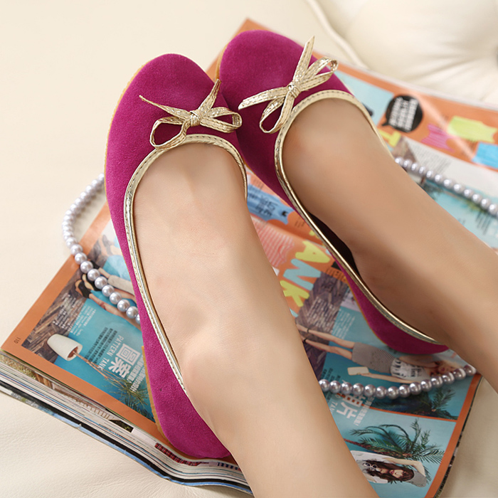 2013 spring new arrival genuine leather single shoes fashion bow flat heel round toe flat shoes beige rose women's(China (Mainland))