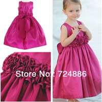 Free Shipping Off The Shoulder  Sleeveless Ruched  Purple  A-line Long Satin Dresses For Little Girls 2013 G007 free shipping