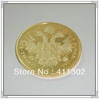 1pcs/lot  Gold replica Austrian 1915 Four Ducats,Gold clad plated commemorative  Coins