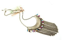 European and American fashion retro beautiful tassels multi-layer chain meniscus teardrop-shaped short necklace, necklace