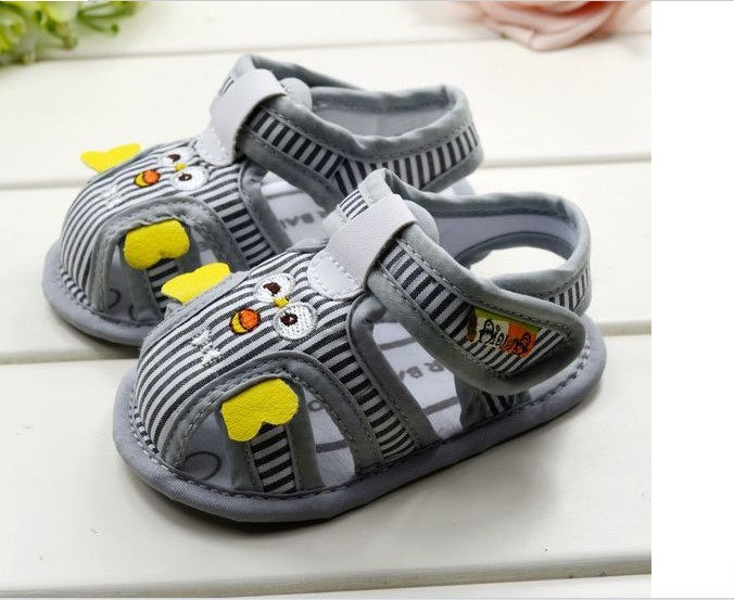 Fashion Children's Shoes New style 0-1 Year Qute Cartoon Stripe Baby Sandals Free shipping 12pcs/lot(China (Mainland))