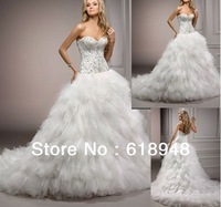 2013 Free Shipping New Arrival Custom Made Ball Gown Luxury Bridal Gown Wedding Dresses CM0016