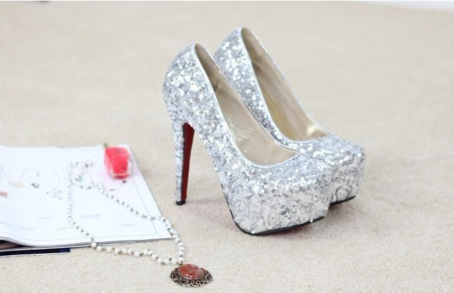 Wholesale 3 colors size 34-41,14 cm high with sequins gold wedding shoes bride wedding shoes. Women's pumps(China (Mainland))