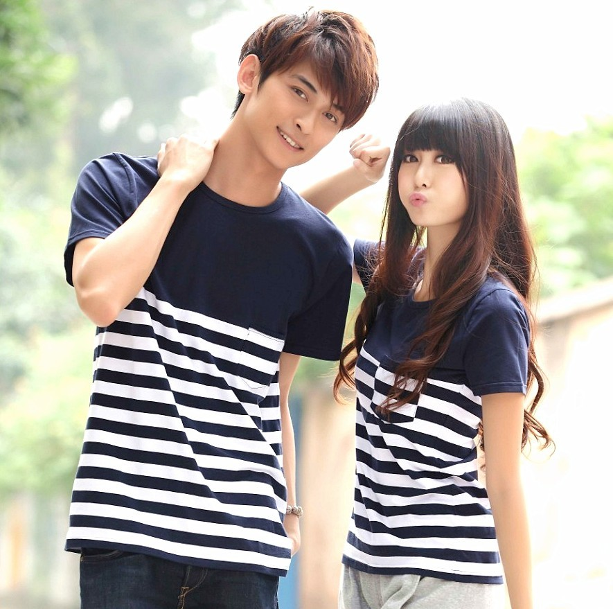 Summer lovers 2013 stripe summer T-shirt plus size clothing navy style short-sleeve shirt class service(China (Mainland))