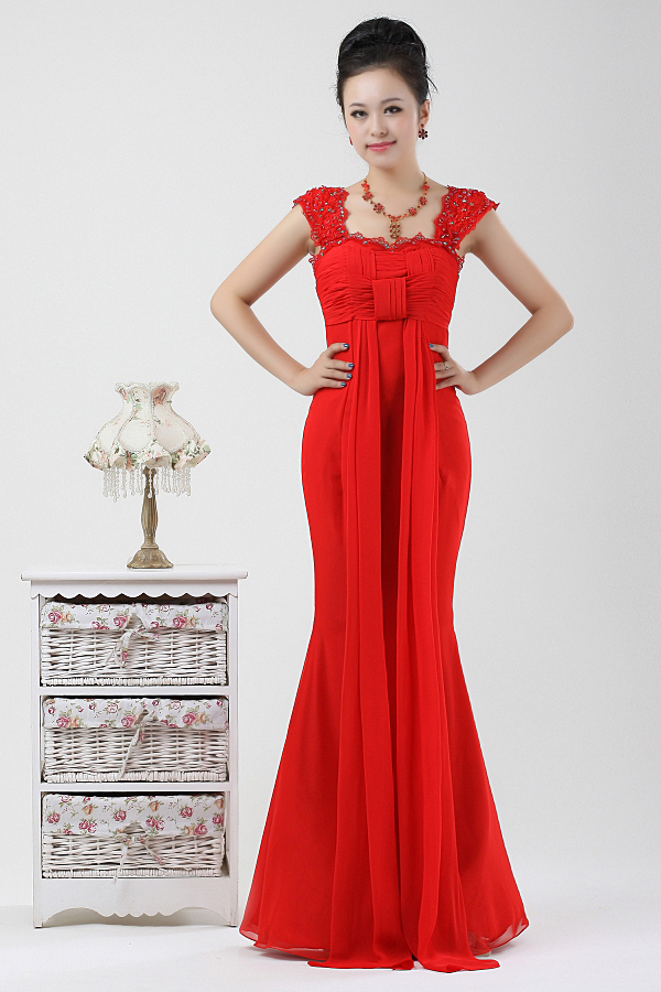 Wedding dress red chiffon evening dress bridesmaid dress evening dress ns0053(China (Mainland))