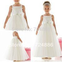 Off The Shoulder  Sleeveless Ankle-length White/Ivory Sash Flower Girl Dresses For Weddings G017