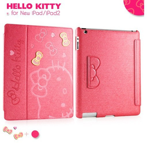 Cute Hello Kitty Smart Cover Leather Case For Apple ipad 4th Retina ipad 2 & 3 with sleep wake Stand(China (Mainland))