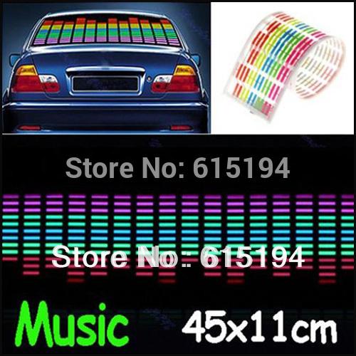Grátis 45CM Frete * 11CM Car Música Rhythm Lâmpada Led Auto Sound Música Activated Equalizer Brilho Flash Light Kit Etiqueta Subwoofer(China (Mainland))