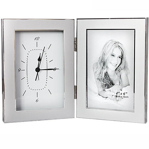 3 aluminum alloy photo frame clock alarm clock birthday gift 6(China (Mainland))