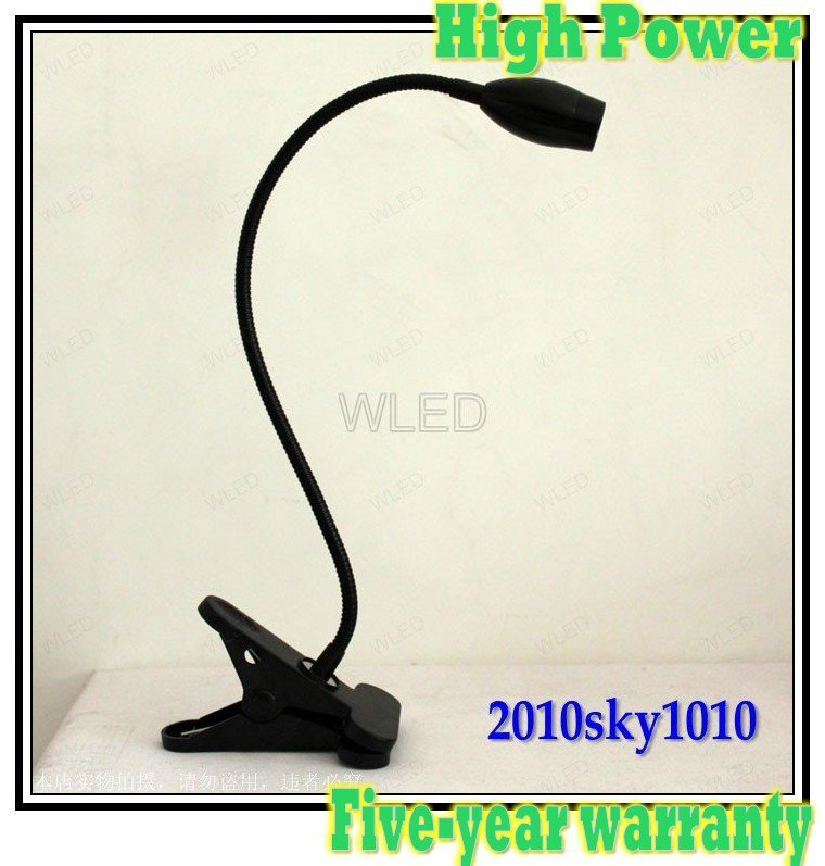 Wholesale Black Case High Power White Color LED desk lamp flexible tube reading lighting bed room lights(China (Mainland))