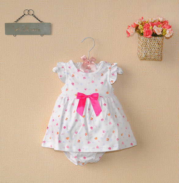 summer 2013 Baby-Grils Newborn 2pcs Set white cotton short sleeve dress with pink bow+underwear fashion kids girls sets(China (Mainland))