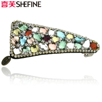 Stella free shipping Accessories hair accessory hairpin spring clip hair pin clip rainbow crystal rhinestone inlaying