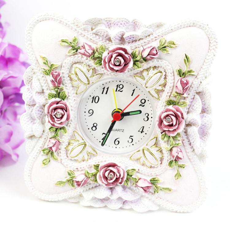 Fashion vintage rose small rustic home alarm clock furnishings carved resin table clock(China (Mainland))