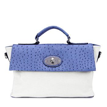 leather 2013 spring and summer ostrich grain color block women's handbag messenger bag handbag