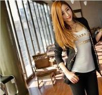 2013 summer women's short-sleeved T-shirt Korean Shopping Korean Slim sexy tight round neck bottoming shirt low tide