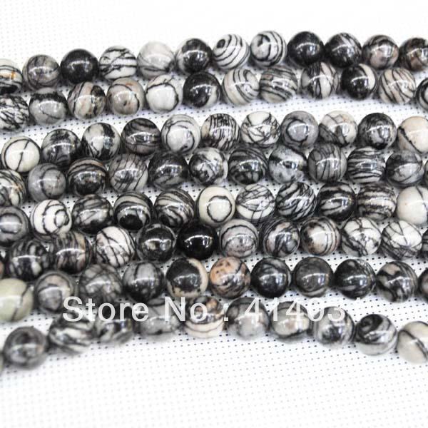 Free Shipping ! 64 Pcs/Lot,Net Line Jasper Bead,New Designs,Loose Gem Stone Round Ball,For Bracelet Making, Size: 12mm,(China (Mainland))