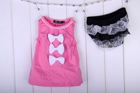 wholesale 3 pcs/lot,Bowknot  lace vest baby suits,gilr clothing,2pcs,100% cotton