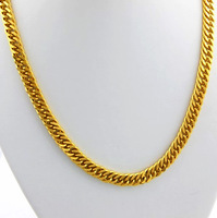 GN17    24K Gold Plated Curb Chain Necklace for MEN/ Wholesale Fashion Jewelry / Free shipping / 10MM X 52CM
