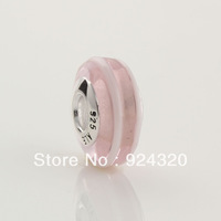 2pcs Solid 925 Sterling Silver Pink Murano Glass Ribbon European Beads Fit Charm Bracelets