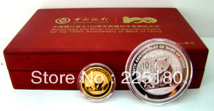 the 100 anniversary of the founding of Bank of China panda and characters of gold and silver COINS(China (Mainland))