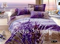 Environmental Reactive Printing Purple Floral River Beds Bed Sets Duvet/Quilt Cover Set 4pcs Queen/Full Sz 100% Cotton, Bedsheet