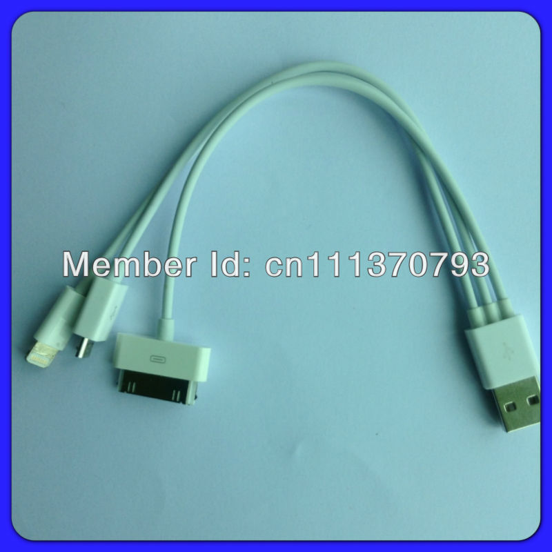 Free shipping 3 IN 1 USB TO MICRO USB / 30 PIN / 8 PIN CABLE FOR IPHONE 5 IPAD IPOD TOUCH 5 500pcs/lot Wholesale DHL(China (Mainland))
