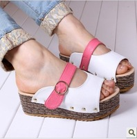 Best quality Cola sandals slippers candy platform buckle single shoes wedges female slippers velcro