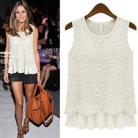 FREE SHIPPING! 2014 women blouses women summer shirts europe&america sleeveless chiffon +Lace shirt, size: S M L XL hot sale!