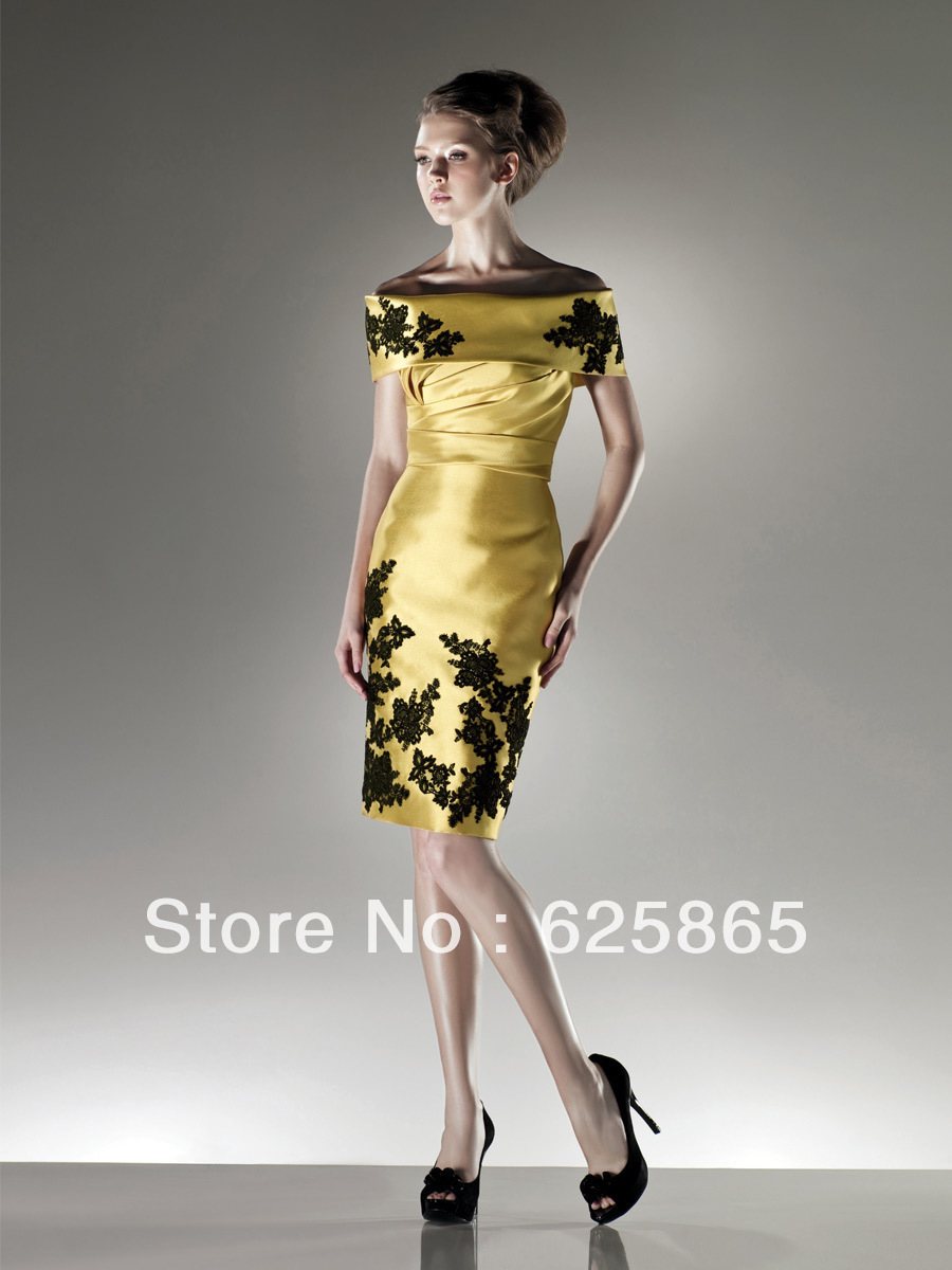 Gold off shoulder applique fold over neckline knee length women dress custom(China (Mainland))