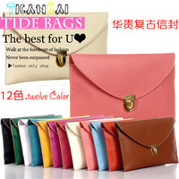 2013 fashion vintage envelope day clutch bag fashion messenger bag clutch women's handbag free shoping