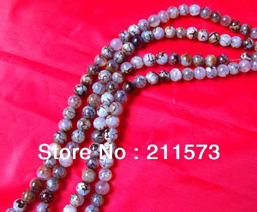 "Sales 15"" long 8mm round multicolor leopard print natural agate string loose beads_ free shipping_AGL001(China (Mainland))"