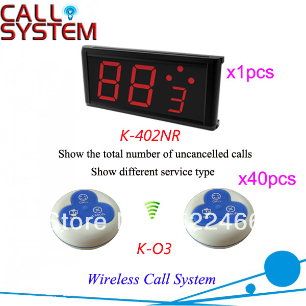 Restaurant Buzzer System K-402NR+O3 Hot sale with number display reciver and 3-key waterproof call button Free Shipping(China (Mainland))