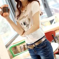 2013 summer women's plus size slim 100% women's short-sleeve o-neck cotton t-shirt white short-sleeve t female