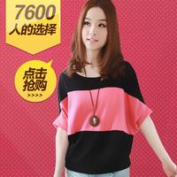 Summer hot-selling fashion short-sleeve summer female mm plus size loose t-shirt female short-sleeve batwing sleeve basic shirt